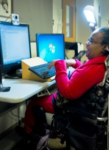 Adult using assistive computer technology