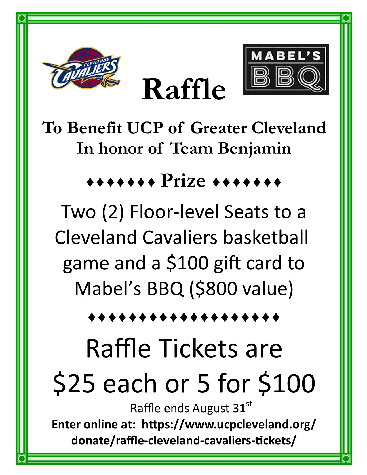 Win Floor Level Cavs Seats And A 100 Mabel S Gift Card United